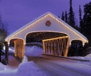 Puzzle de Puente cubierto adornado para  Navidad