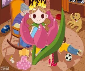 Puzzle de Pulgarcita. La pequeña niña que nació en una flor