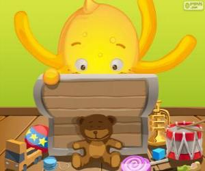 Puzzle de Pypus con su caja de los juguetes