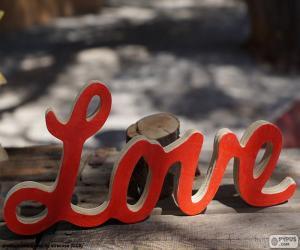 Puzzle de Rótulo de madera, Love
