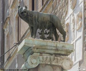 Puzzle de Rómulo y Remo, los fundadores de Roma, amamantados por una loba