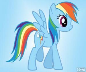 Puzzle de Rainbow Dash, una pony pegaso con la cola arcoiris