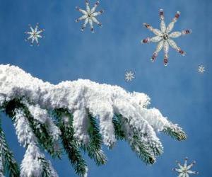 Puzzle de rama de abeto nevado