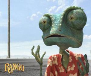 Puzzle de Rango es un camaleón mascota que vive en un terrario y que acaba en el desierto