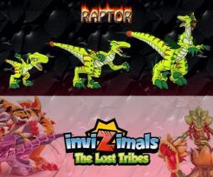 Puzzle de Raptor, última evolución. Invizimals Las Tribus Perdidas. Peligroso cazador ya que es rápido, inteligente y agresivo