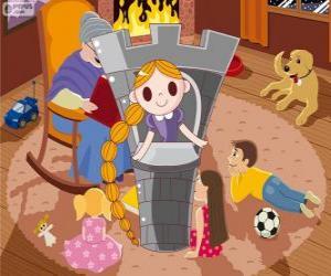 Puzzle de Rapunzel. La princesa de pelo largo en la torre