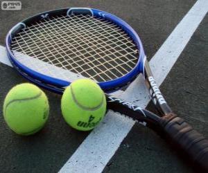 Puzzle de Raqueta y pelotas de tenis