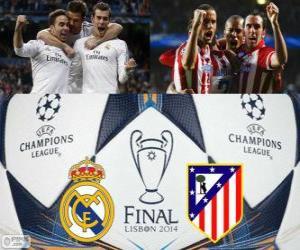 Puzzle de Real Madrid vs Atlético. Final UEFA Champions League 2013-2014. Estádio da Luz, Lisboa, Portugal