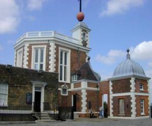 Puzzle de Real Observatorio de Greenwich, observatorio astronómico situado en el Instituto de Astronomía en la Universidad de Cambridge, Gran Bretaña. La localización del primer meridiano terrestre