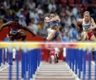 Carrera de vallas, atleta franqueando una valla