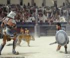 Combate entre dos gladiadores en el anfiteatro