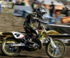 Moto de motocross con piloto