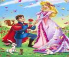 Príncipe Philip de rodillas ante la princesa Aurora en la petición de mano