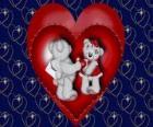 Dos ositos enamorados con corazones