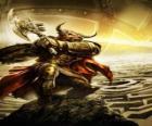 Minotauro - Monstruo gigante con cuerpo humano y cabeza de toro armado como un guerrero