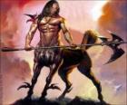 Centauro armado - Ser con el torso y la cabeza de humano y el cuerpo de caballo