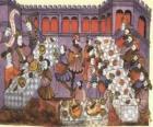 Escena medieval de una cena en el salón del palacio o castillo