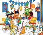 Caillou con sus amigos en su cumpleaños