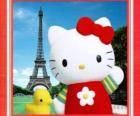 Hello Kitty con pajarito y la Torre Eiffel de fondo