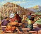 Noé construye su arca para salvar del diluvio universal a los escogidos