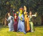 Princesas  Cenicienta, Blancanieves, Fiona, Rapunzel y La Bella Durmiente