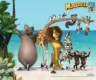 Gloria la hipopótamo, Melman la jirafa, Alex el león, Marty la cebra con otros protagonistas de las aventuras