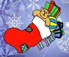 Calcetín navideño lleno de regalos