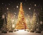 Gran árbol de Navidad dorado