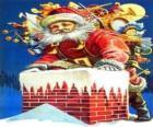 Santa Claus entrando por la chimenea cargado con muchos regalos