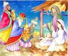 Los Reyes Magos entregando sus ofrendas, oro, incienso y mirra, al Niño Jesús
