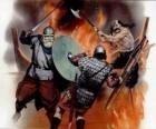 Vikingos luchando