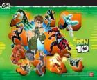 Ben 10 con el Omnitrix y sus 10 personalidades alienígenas