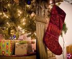 Calcetín navideño colgado