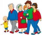 Caillou paseando con su familia