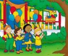Caillou intentando de romper la piñata en una fiesta junto a sus amigos