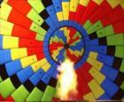 Interior de un globo con la llama