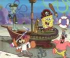 Bob Esponja y algunos de sus amigos jugando a ser piratas
