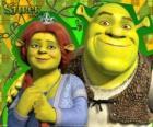 Shrek y Fiona enamorados y muy contentos