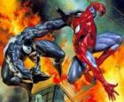 Spiderman luchando contra Venom o Veneno