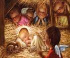 El Niño Jesús en el pesebre con la protección de un ángel