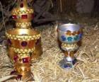 Ofrendas de los Reyes Magos, oro, incienso y mirra, al Niño Jesús