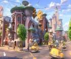 Vista de una de las calles de Glipforg en Planet 51