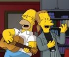 Homer Simpson cantando con un amigo