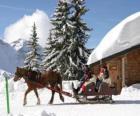 Una familia en un trineo tirado por un caballo durante la Navidad