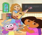 Dora y el mono Botas en una clase de música