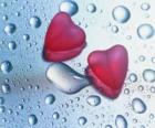 Dos corazones rojos y una gotas de agua