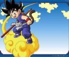 Goku montado en su nube Kinton que puede volar a gran velocidad