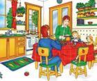 Caillou y su familia comiendo en la cocina