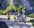 Los tres pequeños jugando, con el Burro y el Gato con Botas