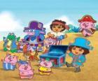 Dora junto a sus amigos jugando a ser piratas